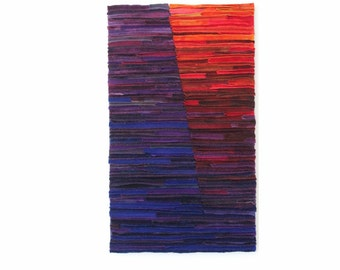 Purple and Red Fiber Art Wallhanging / Felted Wool Wall Art / Embers