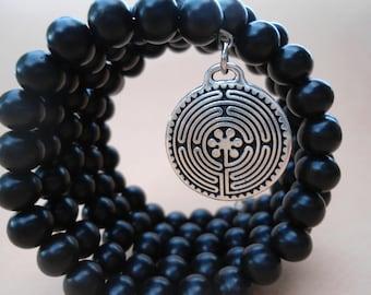 108 Bead Mala Mens Mala Bracelet  Zen Meditation Black Ebony Man's Mala  Japa Mala Labyrinth Charm  Spiritual Mala Beads  Mens Yoga Bracelet
