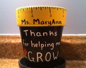 Personalized teacher pencil holder with Thanks for helping me GROW, Teacher name, Child name, and school year- hand painted teacher gift