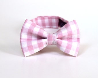 Boy's Bow Tie - Pale Pink Gingham - size 0-2 years - In Stock