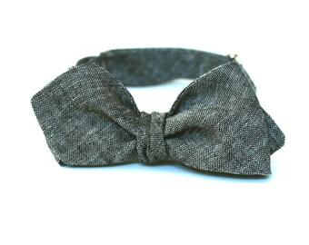 Men's Bow Tie - Charcoal Grey Linen - Diamond Point Bow Tie Diamond Tip Bow Tie  Adjustable Bowtie freestyle bowtie gray bow tie Grey Bowtie