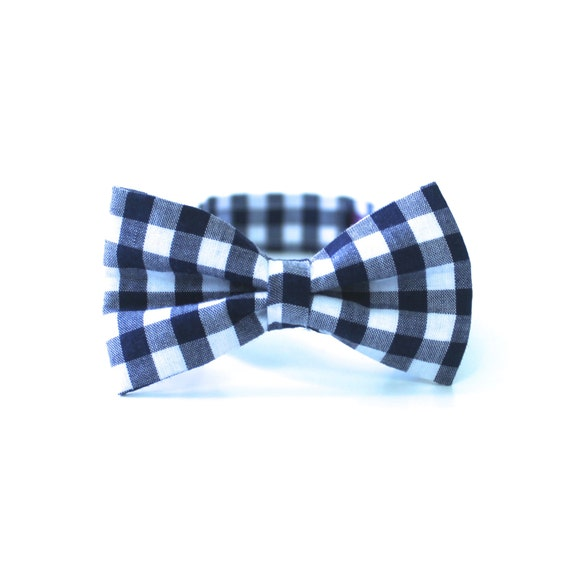 Boy's Bow Tie - Navy Blue Gingham - any size
