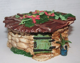 OOAK Fairy House removable roof furnished interior polymer clay