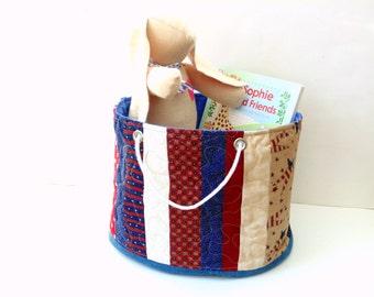 Bucket bag, red white blue Patriotic fabric basket storage bin, cotton basket, organizer bin,  large tote bag, toy bag