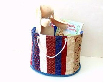 Toy storage bucket bin, red white blue Patriotic fabric basket storage bin, cotton basket, organizer bin,  large tote bag, toy bag