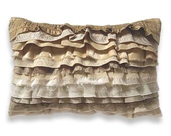 Cream Beige Ivory Off White Gold Bohemian Ruffle Pillow Case 12 x 18 in CARMEN DESIGN OOAK