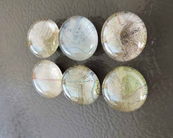 Repurposed Topographic Map Magnets - Set of 6