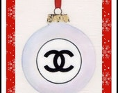 Personalised  Christmas Xmas card Chanel Bauble decoration ornament 8 x 6 inches from art