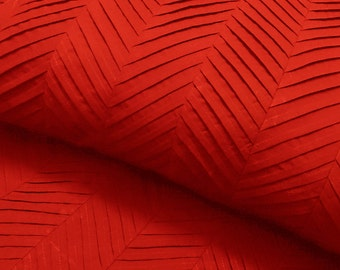 red zig zag pleated cal king size bedspread blanket throw