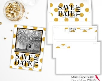 Gold Glitter Dots Save the Date Cards!  Premium Card stock, Quick Turnaround, envelope options and more!