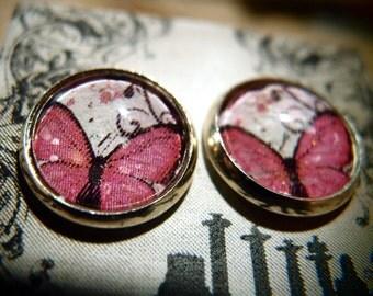 Pink Butterfly earrings in silver bezel