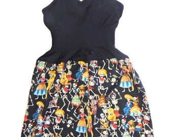 """US Handmade Fancy DRESS With """"Day Of The Dead"""" Pattern,  Cotton Fabrics, Uni-Size, Fits; S, M, L, XL, New"""