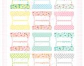 Printable Blank PLANNER FILE TABS - Digital File Instant Download- floral, polka dots, pastels Home Management