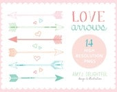 Love Arrows CLIP ART SET for personal and commercial use -hand drawn hand drawn hearts and arrows scalloped border