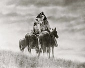 Cheyenne Warriors on Horseback Native American Indian Vintage Art Photography Old West Western Edward Curtis Sepia Black White Photo Print