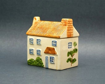 Thatched Roof Cottage Ceramic Trinket Box Porcelain Lidded House Shaped Keepsake Container