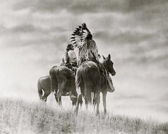 Cheyenne Warriors on Horseback Native American Indian Vintage Art Photography Old West Western Edward Curtis Sepia Black White Photo Print