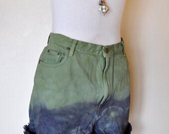 Green Sz 18 Denim Shorts - Upcycled Dyed Apple Green Navy Ombre Denim High Waist Vintage Eddie Bauer Shorts - Adult Women Size 18 (36 Waist)