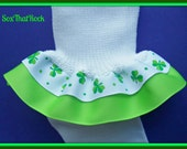 St. Patty's Day girls double ruffle socks in custom colors with Shamrock ribbon! You pick bottom ribbon color