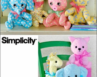 Stuffed Animals Pattern, Easy 2 Piece Stuffed Animal Pattern, Simplicity Sewing Pattern 2613