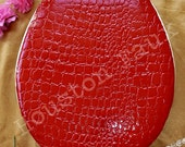 "SALE! ~ You get this one! / Glossy Croco RED Toilet Seat -Fits Round 16"" Round ~ Ready to Ship! / you get this one"