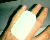 White fused glass adjustable bold large statement  ring 2""