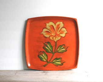 Mid Century Orange Serving Tray Yellow Lilly Flower Davar Lacquerware Japan