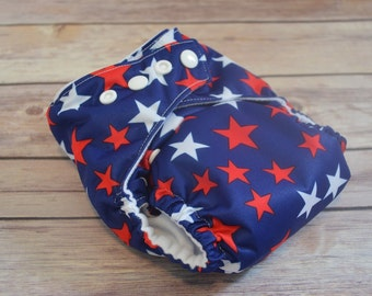 One Size Pocket diaper | Swim Diaper | Cloth Diaper | Handmade | Stars | Red White and Blue | Patriotic | Military | Handmade | Reusable