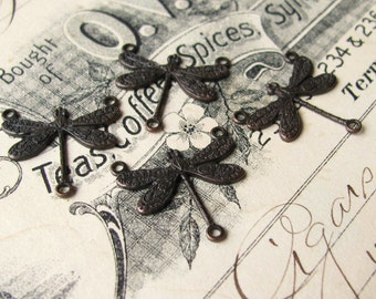 Art Nouveau dragonfly necklace link, 17mm, 3 loops, black antiqued brass (4 links) black dragonfly connector, black brass dragonfly link