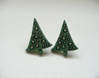 Green Christmas Tree Stud Earrings