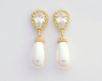 Pearl Earring Gold Wedding Jewelry Cubic Zirconia Gold Bridal Earrings Swarovski Pearl Drops Gold Bridal Jewelry, Aria