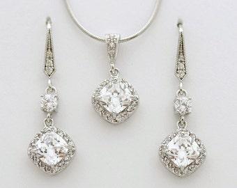 Bridal Jewelry Set, Cushion Cut Cubic Zirconia Earring and Necklace Set, Wedding Jewelry Set, Crystal Bridal Set