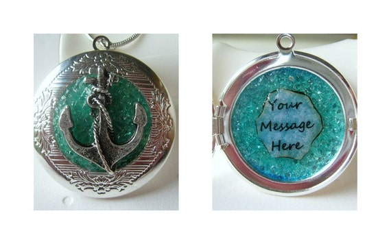 Custom Locket Personalized Necklace Hidden Message Silver Anchor Birthstone Jewelry Quote Pendant Turquoise Stained Glass Christmas Gift