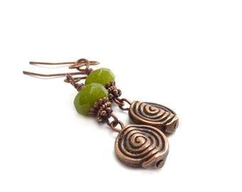 Olive Green Jade Dangle Earrings - Etched Copper Gemstone Earrings - Funky Bohemian Earrings - Greenery