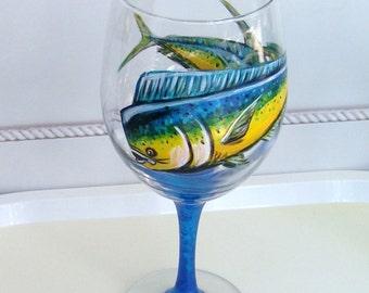 Dolphin Mahi Mahi Wine Glass Hand Painted Sport Fish (Custom Order Only)
