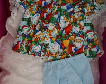 11 - 13 inch Baby Doll Clothes - Dress and Pants -  Snowmen and Santa - Pale Blue Pants - Christmas