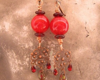Red Glass Earrings - Red Glass Orb Gothic Earrings with Filigree Dangle