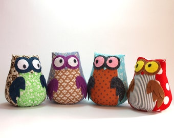 Four small owls Owl toy plush owl staffed owl plush doll toy