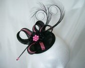 Black & Hot Pink Fuchsia Leopard Print Pheasant Curl Feather Sinamay and Pearl Isabel Wedding Fascinator Mini Hat - Custom Made to Order