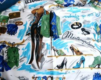 Vintage  Italian Scarf, Nautical Blue Square silky soft Scarf.  80s fashion scarf