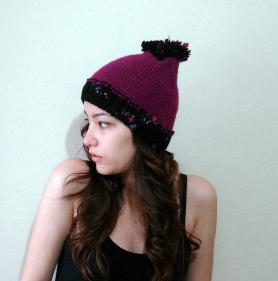 Pom Pom Bear Ear Beanie, Hand knit Chunky children teen girls Beanie, Two pom pom ears hat