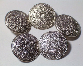 Ornate Silver Color metal Buttons Metal Loop Shank Style 20mm Set 5