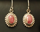 Sterling Silver and Rhodocrosite  Drop Earrings