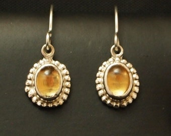 Sterling Silver and Citrine Drop Earrings