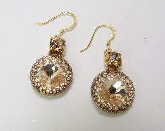 Gold beaded rivoli crystal old gold sterling silver earrings