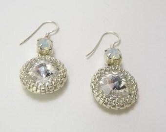 Silver Beaded Rivoli Crystal Sterling Silver Earrings