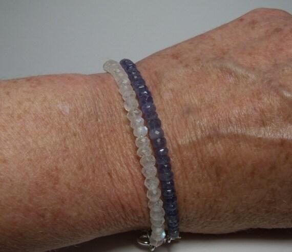 Faceted Rondelle Tanzanite: Tanzanite Silver Bracelet Lavender Blue Gemstone Stacking Rolo