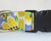 Medium Adjustable Fabric Dog Collar 3/4 inch wide Modern Floral Print in Yellow's, White, Green's and Purple Pet Accessory Ready to Ship