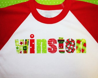 Christmas Shirt - raglan sleeves personalized with Name