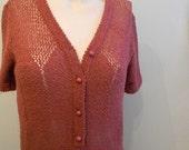 vintage. 70s Blush Pink Knit Dress / S to M